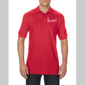 BUMS Mens red polo shirt (Gildan Premium Cotto Adult Double Piqué Shirt)